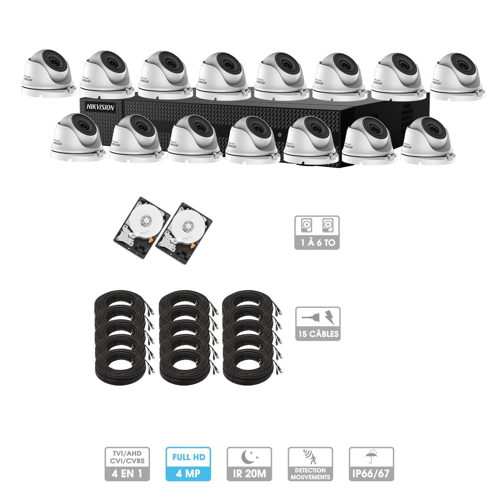 Kit vidéosurveillance 15 caméras | 4MP HD | 15 câbles 20 mètres | 2 HDD 1 à 6 To | Dômes Hiwatch