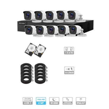 Kit vidéosurveillance 10 caméras | 4MP HD | 10 câbles 20 mètres | 2 HDD 1à 6 To | Tube Hiwatch