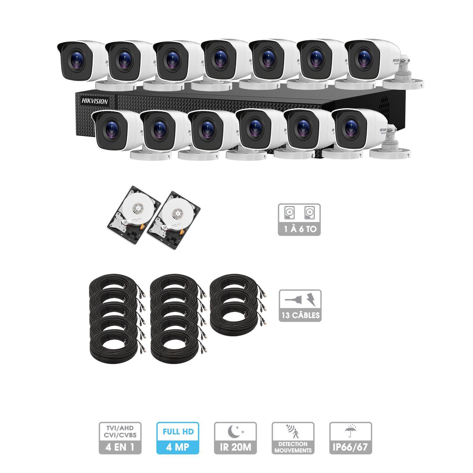 Kit vidéosurveillance 13 caméras | 4MP HD | 13 câbles 20 mètres | 2 HDD 1à 6 To | Tube Hiwatch