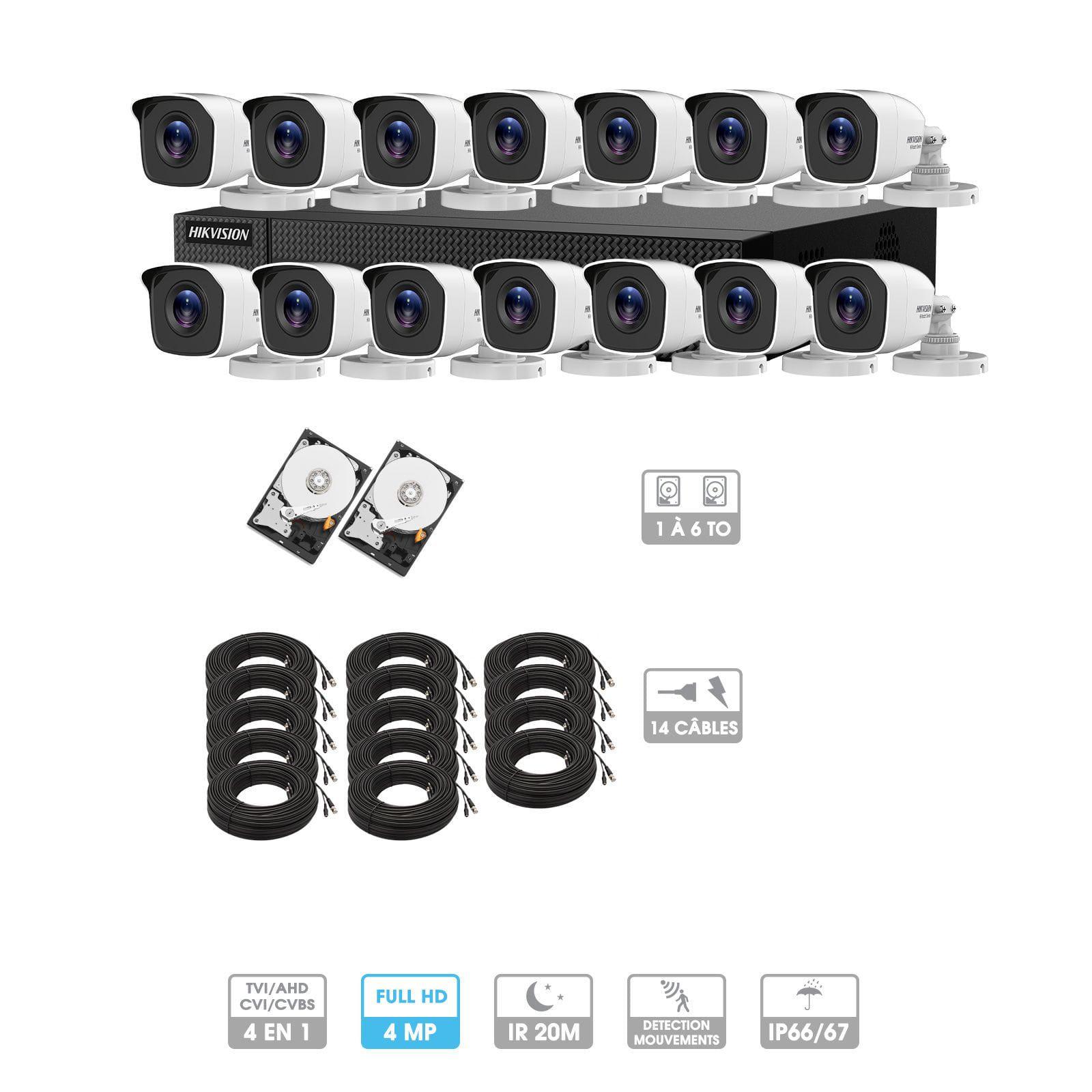 Kit vidéosurveillance 14 caméras | 4MP HD | 14 câbles 20 mètres | 2 HDD 1à 6 To | Tube Hiwatch