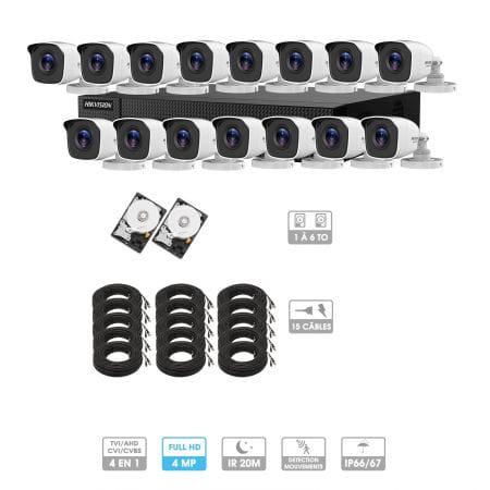 Kit vidéosurveillance 15 caméras | 4MP HD | 15 câbles 20 mètres | 2 HDD 1à 6 To | Tube Hiwatch