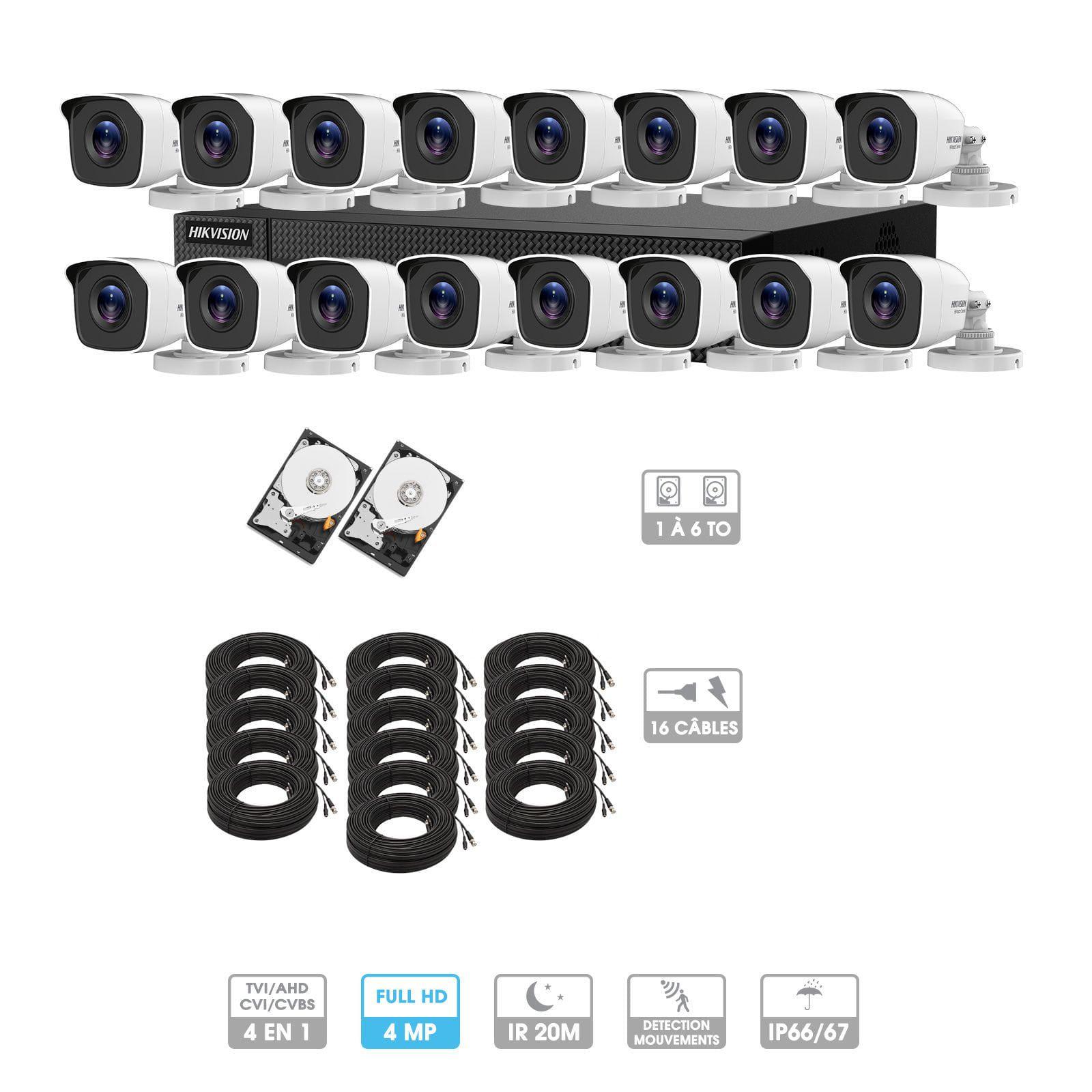 Kit vidéosurveillance 16 caméras | 4MP HD | 16 câbles 20 mètres | 2 HDD 1à 6 To | Tube Hiwatch