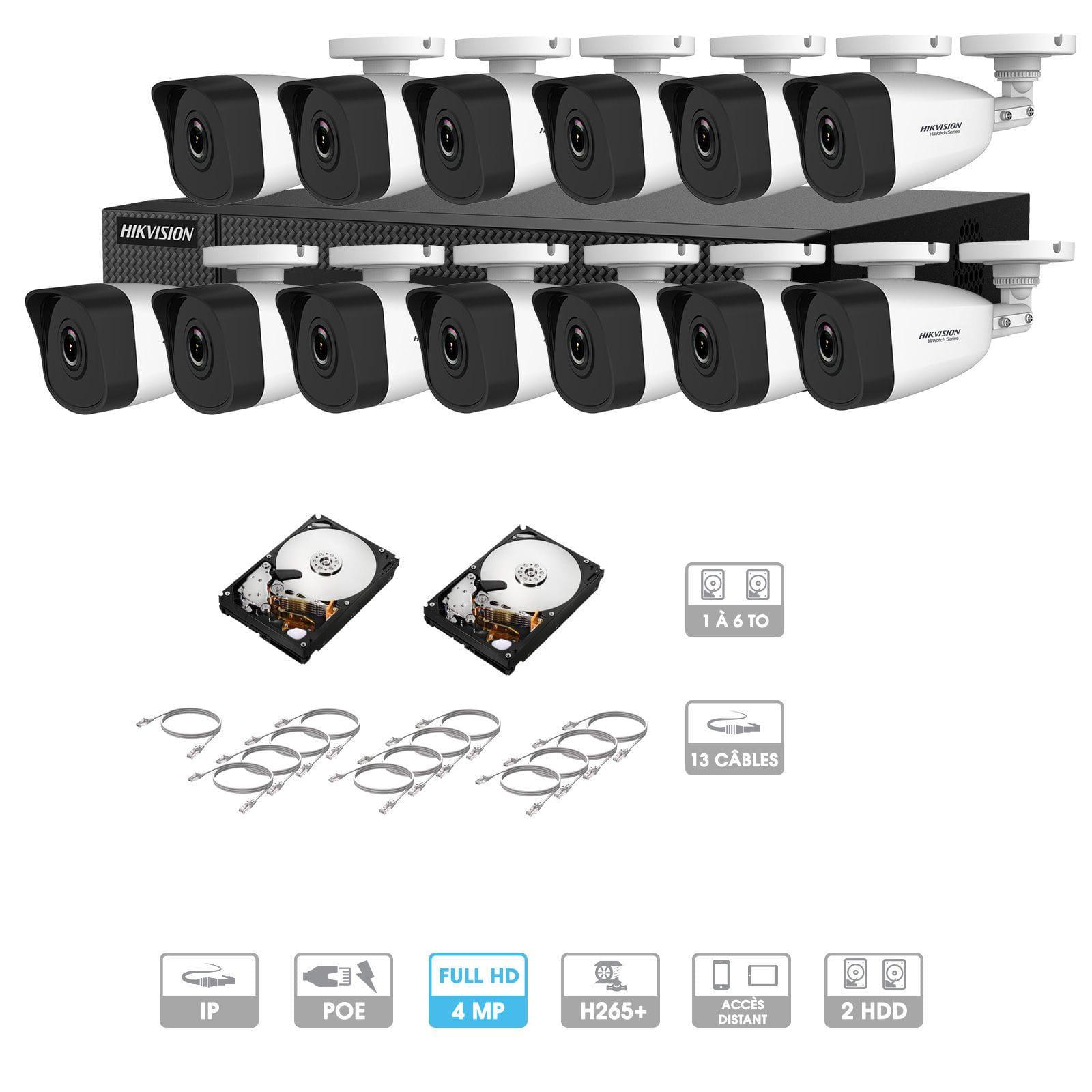 Kit vidéosurveillance 13 caméras | 4 MP | IP PoE | 13 câbles RJ45 20/30/40/50 mètres | 2 HDD 1 à 6 To | Tubes Hiwatch
