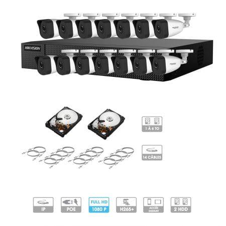 Kit vidéosurveillance 14 caméras 1080P IP PoE | 14 câbles RJ45 20/30/40/50 mètres | 2 HDD 1 à 6 To | Tubes Hiwatch