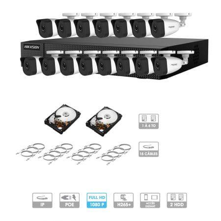 Kit vidéosurveillance 15 caméras 1080P IP PoE | 15 câbles RJ45 20/30/40/50 mètres | 2 HDD 1 à 6 To | Tubes Hiwatch