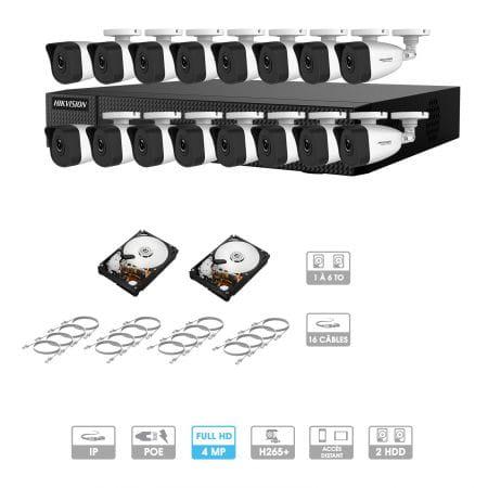 Kit vidéosurveillance 16 caméras | 4 MP | IP PoE | 16 câbles RJ45 20/30/40/50 mètres | 2 HDD 1 à 6 To | Tubes Hiwatch