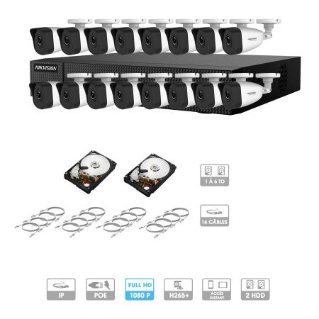 Kit vidéosurveillance 16 caméras 1080P IP PoE | 16 câbles RJ45 20/30/40/50 mètres | 2 HDD 1 à 6 To | Tubes Hiwatch