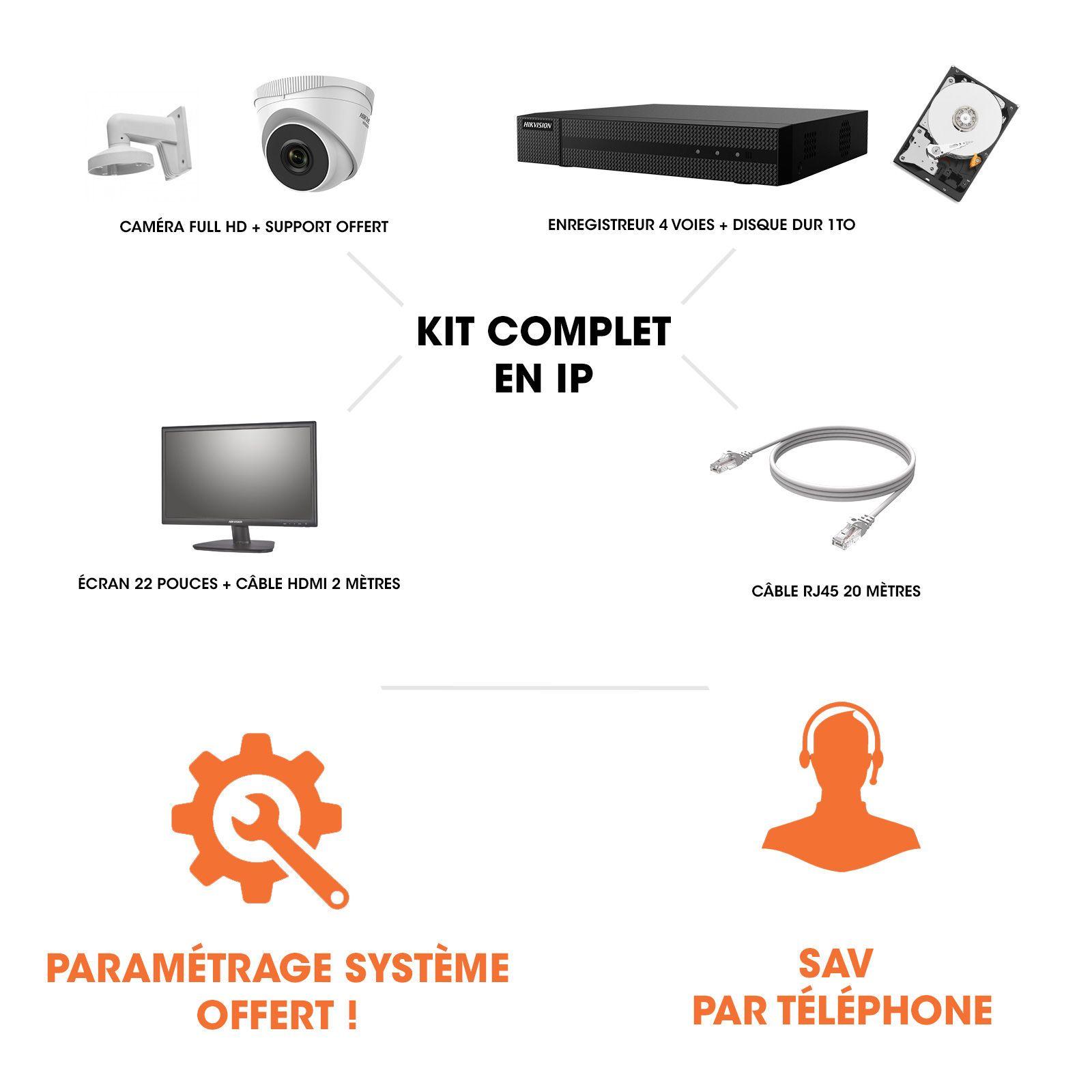 Kit vidéosurveillance | Magasin & commerce | 1 caméra full HD vision nocturne