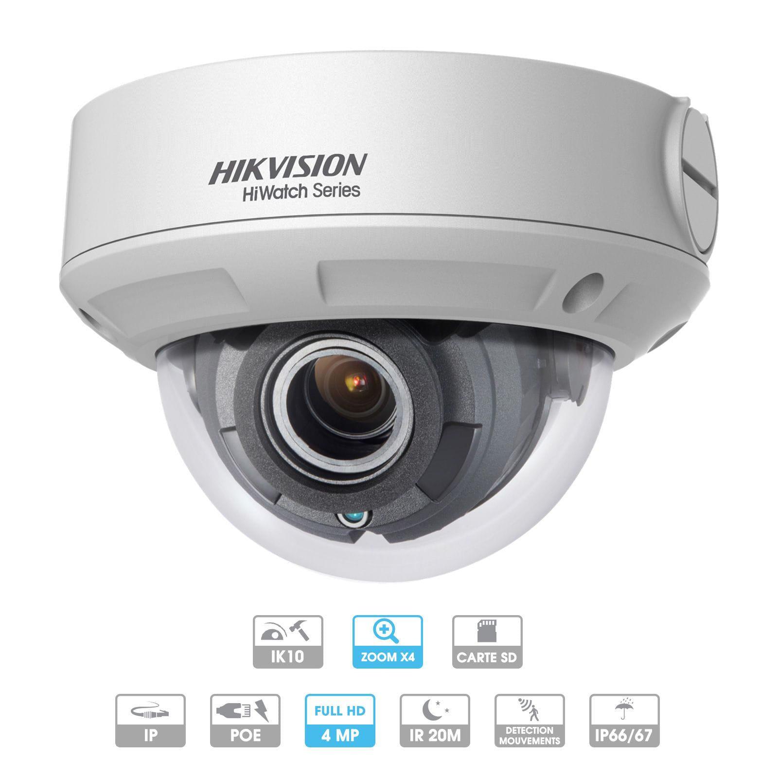 Caméra Hikvision Hiwatch dôme 4 MP IP PoE Antivandalisme
