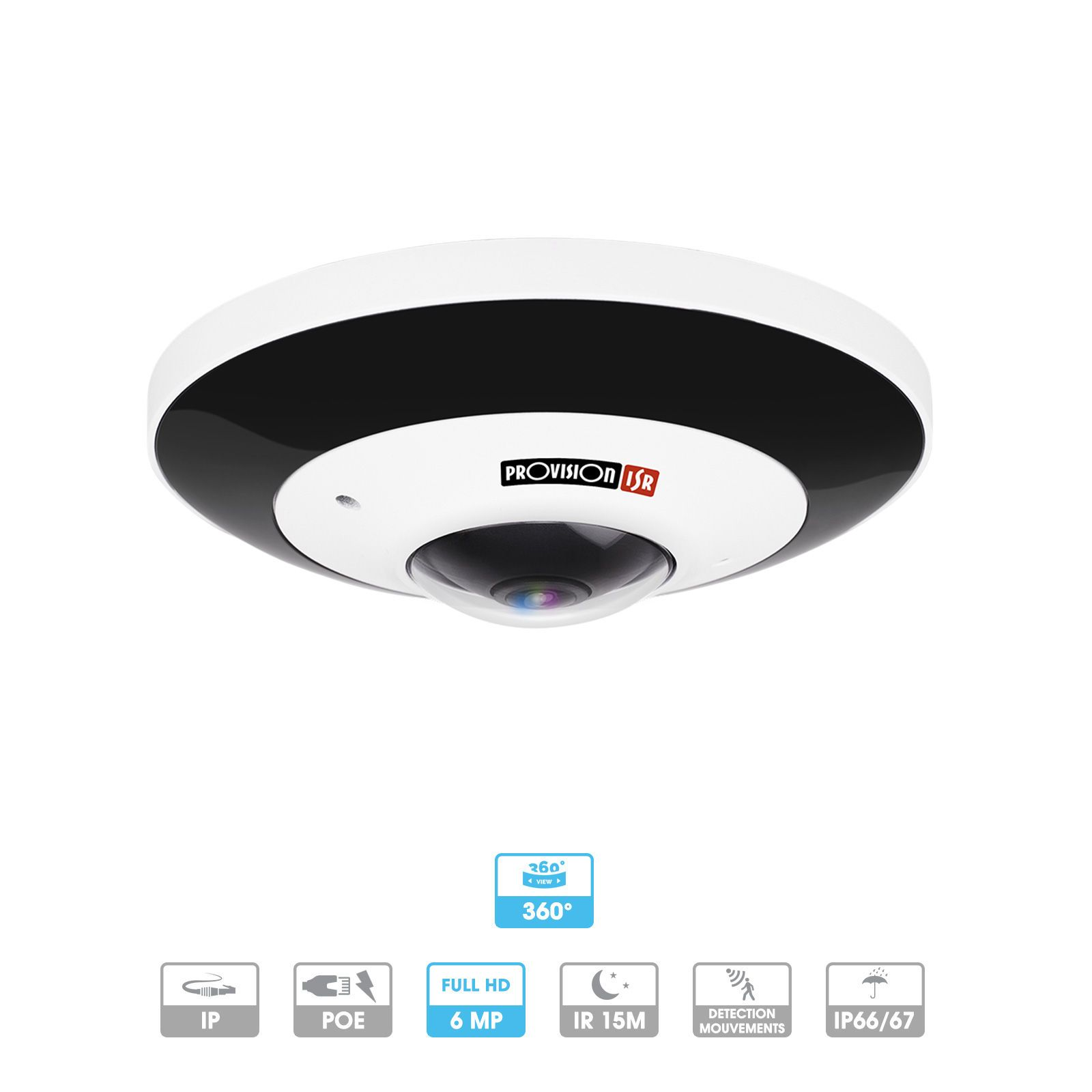 Caméra Provision | Fisheye | 180°/360° | 6 MP | IP | Antivandalisme | Microphone intégré