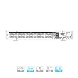 ENREGISTREUR 32 VOIES HDCVI, ANALOGIQUE, IP, 720/1080P, VGA, HDMI, AVEC CANAUX ALARMES, 2 HDD