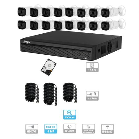 Kit vidéosurveillance 16 caméras | 4MP HD | Zoom x4 | 16 câbles 20 mètres | 1 HDD 1 à 6 To | Tubes Dahua