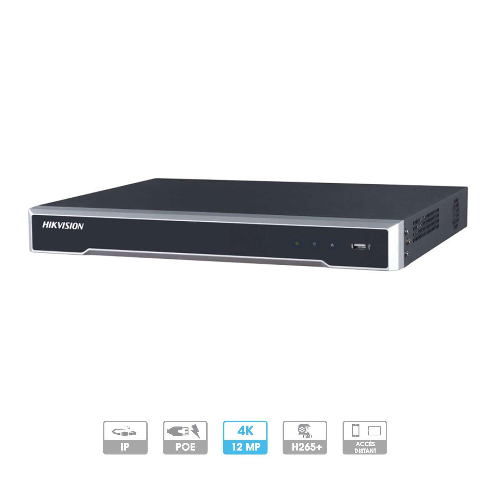 Enregistreur NVR Hikvision | 32 caméras | IP | PoE | 8MP | 2 HDD