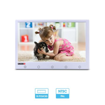 "Ecran de vidéosurveillance 10"" PAL / NTSC | 2 entrées vidéo analogiques | HDMI & VGA | Provision"