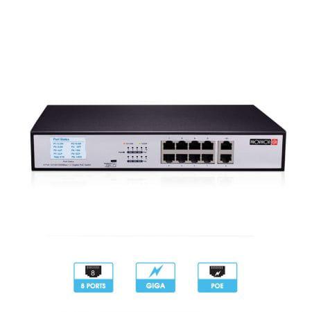 Switch PoE 8 ports Giga + 2 ports Giga | 6 PoE | Transmission jusqu'à 100 mètres | Provision