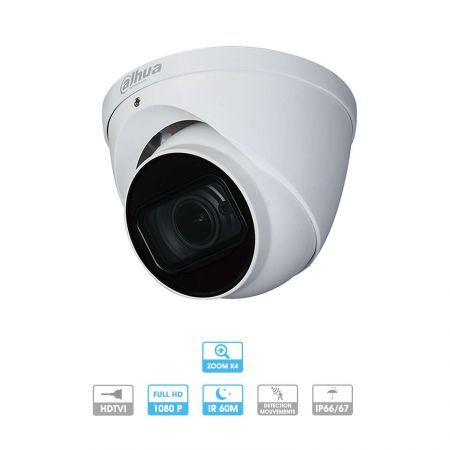 CAMERA DAHUA HDCVI MINI DOME, 2 MP, OBJECTIF VARIFOCAL 2.7-12 MM, IR 30 M