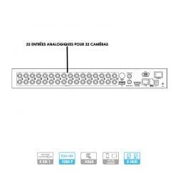 Enregistreur DVR Hikvision / Hiwatch | 32 caméras | HDTVI/HDCVI/AHD/CVBS/IP | 2 MP | 2 disques durs
