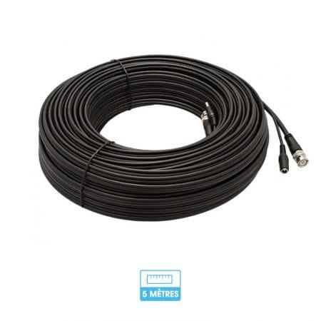 Câble 5 mètres coaxial BNC et alimentation