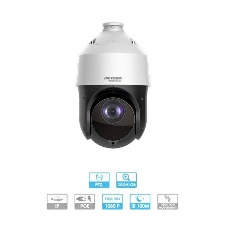 Caméra Hikvision | Dôme | 2 MP | IP PoE | Zoom x 25 | PTZ (rotative, vision 360°) | Infrarouge 100 mètres