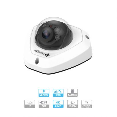 Caméra mini-dôme Milesight | 4K | IP PoE | Antivandalisme | Microphone intégré