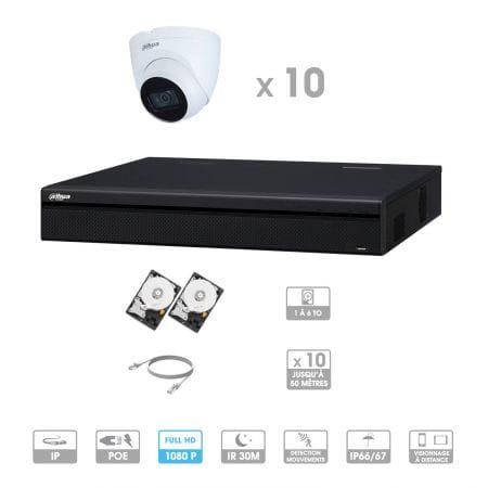 Kit vidéosurveillance 10 caméras | 2 MP | IP PoE | 10 câbles RJ45 20/30/40/50 mètres | 2 HDD 1 à 6 To | Dôme Dahua