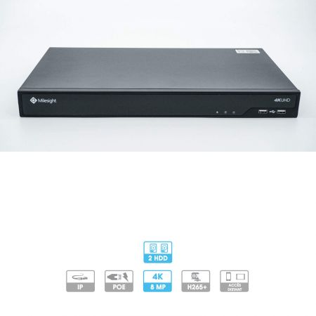 Enregistreur NVR Milesight | 16 caméras (16 PoE) | IP | PoE | 8 MP maximum | 1 HDD