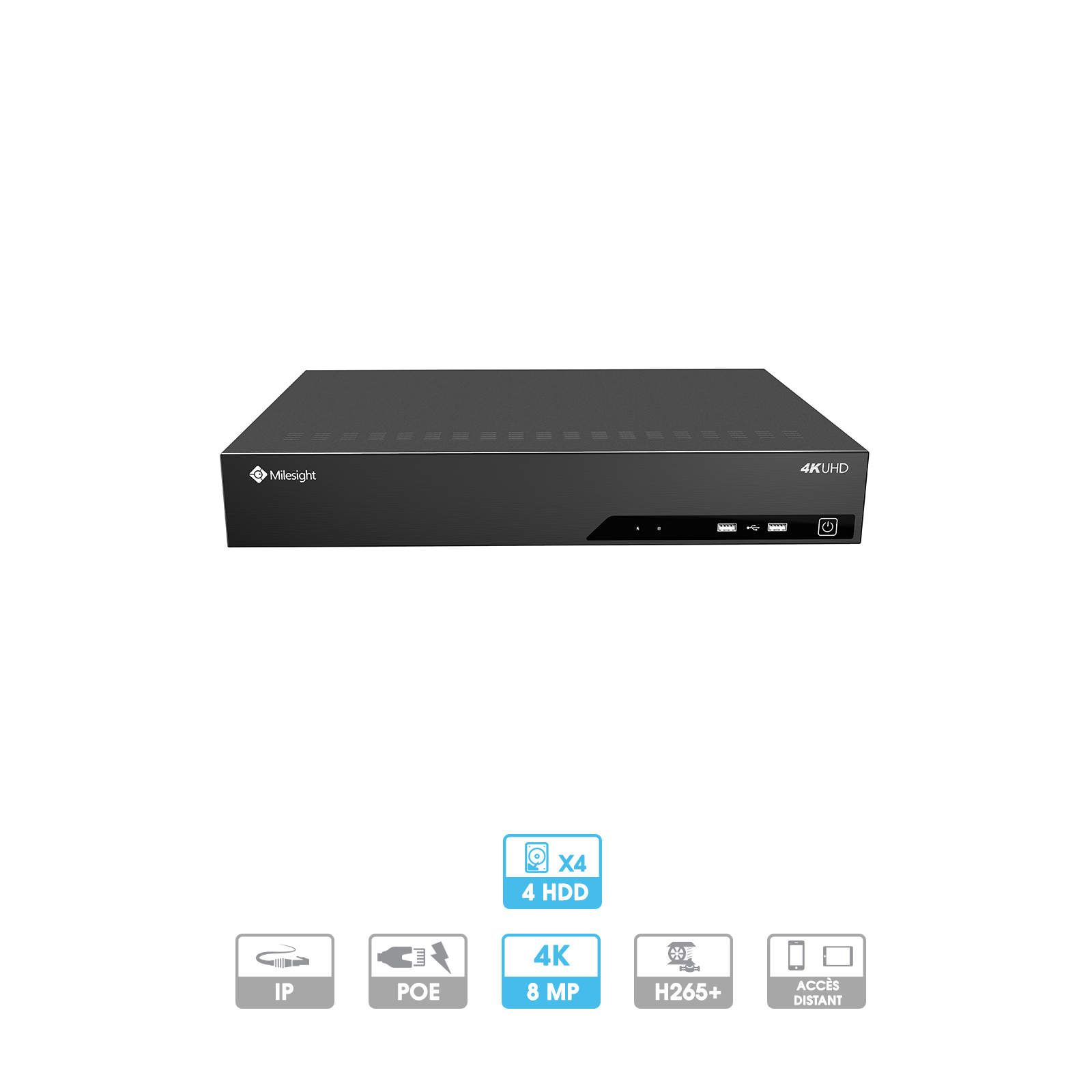 Enregistreur NVR Milesight | 32 caméras (24 PoE) | IP | PoE | 8 MP maximum | 4 HDD