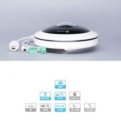 Caméra fisheye Milesight | 5MP | IP PoE | 360° (au plafond) | Microphone | Antivandalisme