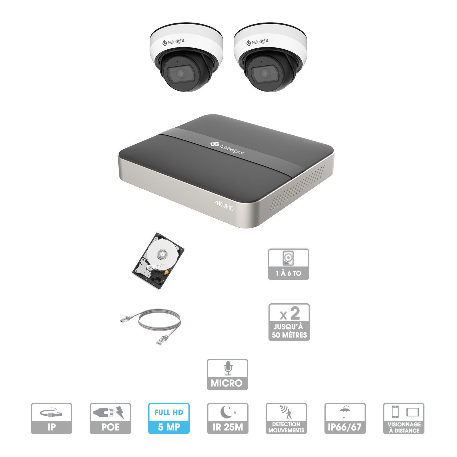 Kit vidéosurveillance 2 caméras | 5 MP | IP PoE | 2 câbles RJ45 20/30/40/50 mètres | HDD 1 à 6 To | Dôme Milesight