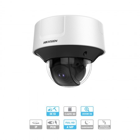 Caméra Hikvision Darkfighter   Dôme   4 MP   IP PoE   Zoom x 4   Protection antivandalisme   Infrarouge 30 mètres