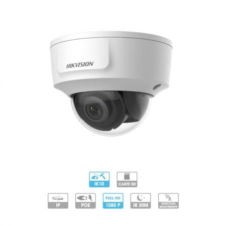 Caméra Hikvision | Dôme antivandale | 2 MP | IP PoE | Infrarouge 30 mètres | Reconnaissance faciale | Sortie directe HDMI