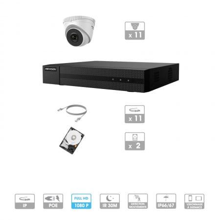 Kit vidéosurveillance 11 caméras | 1080P | IP PoE | 11 câbles RJ45 20/30/40/50 mètres | 2 HDD 1 à 6 To | Dômes Hiwatch