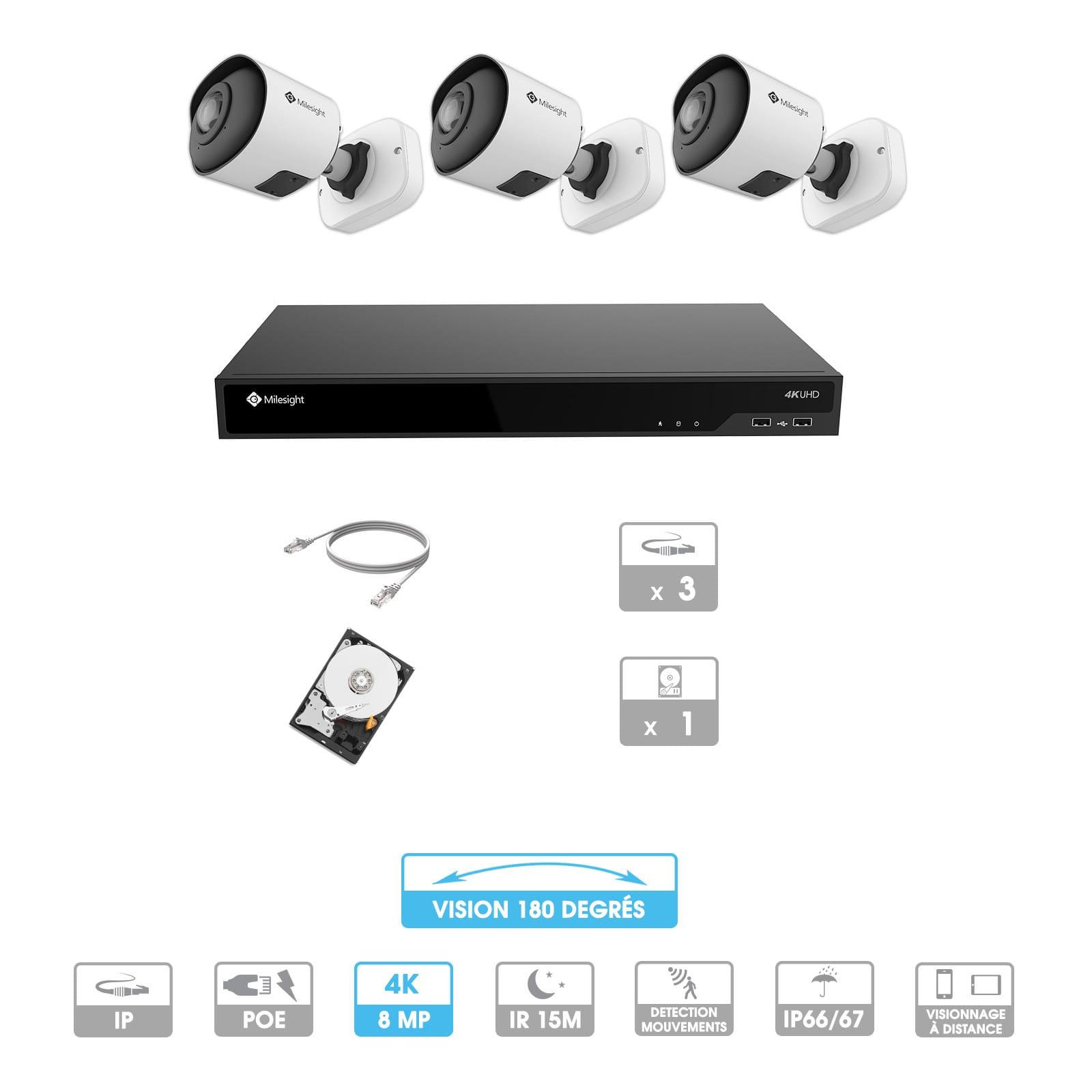 Kit vidéosurveillance 3 caméras 180° | 4K | IP PoE | 3 câbles RJ45 20/30/40/50 mètres | HDD 1 à 6 To | Tube Milesight