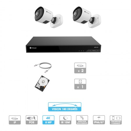 Kit vidéosurveillance 2 caméras 180° | 4K | IP PoE | 2 câbles RJ45 20/30/40/50 mètres | HDD 1 à 6 To | Tube Milesight