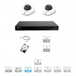 Kit vidéosurveillance 2 caméras   4K   IP PoE   2 câbles RJ45 20/30/40/50 mètres   HDD 1 à 6 To   Dôme Milesight
