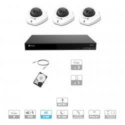 Kit vidéosurveillance 3 caméras | 4K | IP PoE | 3 câbles RJ45 20/30/40/50 mètres | HDD 1 à 6 To | Dôme Milesight