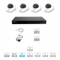 Kit vidéosurveillance 4 caméras | 4K | IP PoE | 4 câbles RJ45 20/30/40/50 mètres | HDD 1 à 6 To | Dôme Milesight