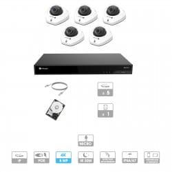 Kit vidéosurveillance 5 caméras | 4K | IP PoE | 5 câbles RJ45 20/30/40/50 mètres | HDD 1 à 6 To | Dôme Milesight