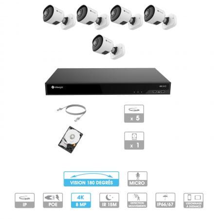 Kit vidéosurveillance 5 caméras 180° | 4K | IP PoE | 5 câbles RJ45 20/30/40/50 mètres | HDD 1 à 6 To | Tube Milesight