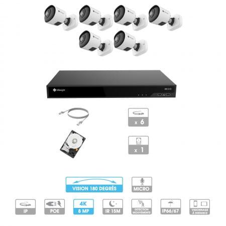 Kit vidéosurveillance 6 caméras 180° | 4K | IP PoE | 6 câbles RJ45 20/30/40/50 mètres | HDD 1 à 6 To | Tube Milesight