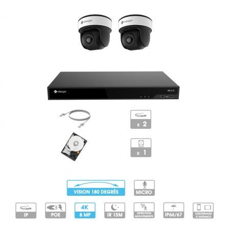 Kit vidéosurveillance 2 caméras 180° | 4K | IP PoE | 2 câbles RJ45 20/30/40/50 mètres | HDD 1 à 6 To | Dôme Milesight