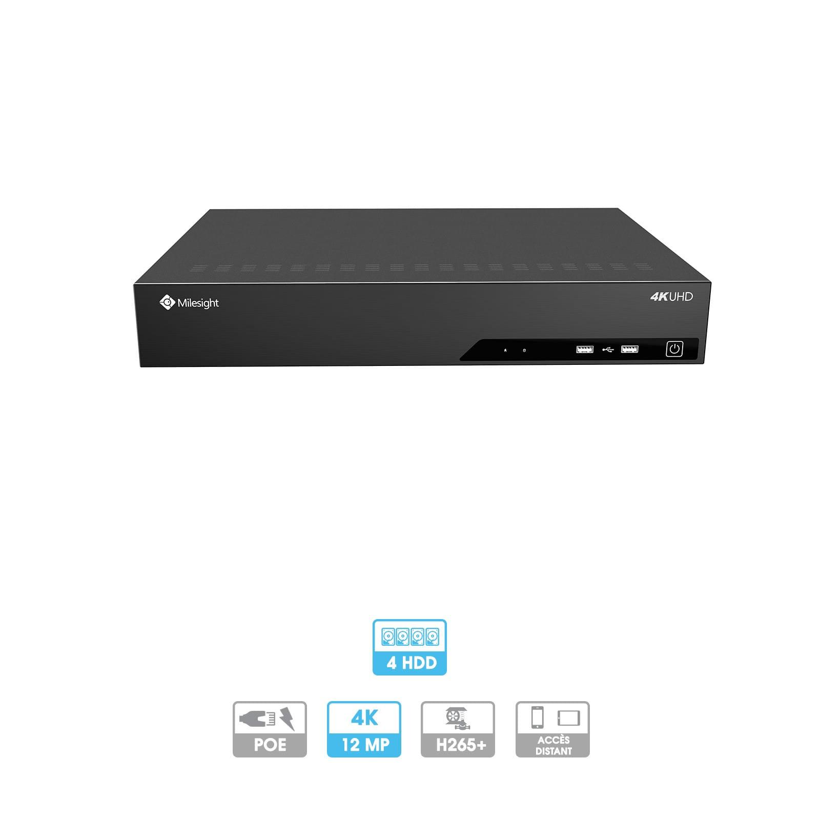 Enregistreur NVR Milesight   16 caméras (16 PoE)   IP   PoE   12 MP   2 HDD