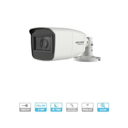Caméra Hikvision Hiwatch | Tube | 2 MP | 4 en 1 TVI/AHD/CVI/CVBS | Zoom x4 | Infrarouge 70 mètres