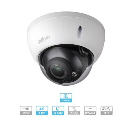 Caméra Dahua | Dôme | 8 MP (4K) | HDCVI | Zoom motorisé | Antivandalisme