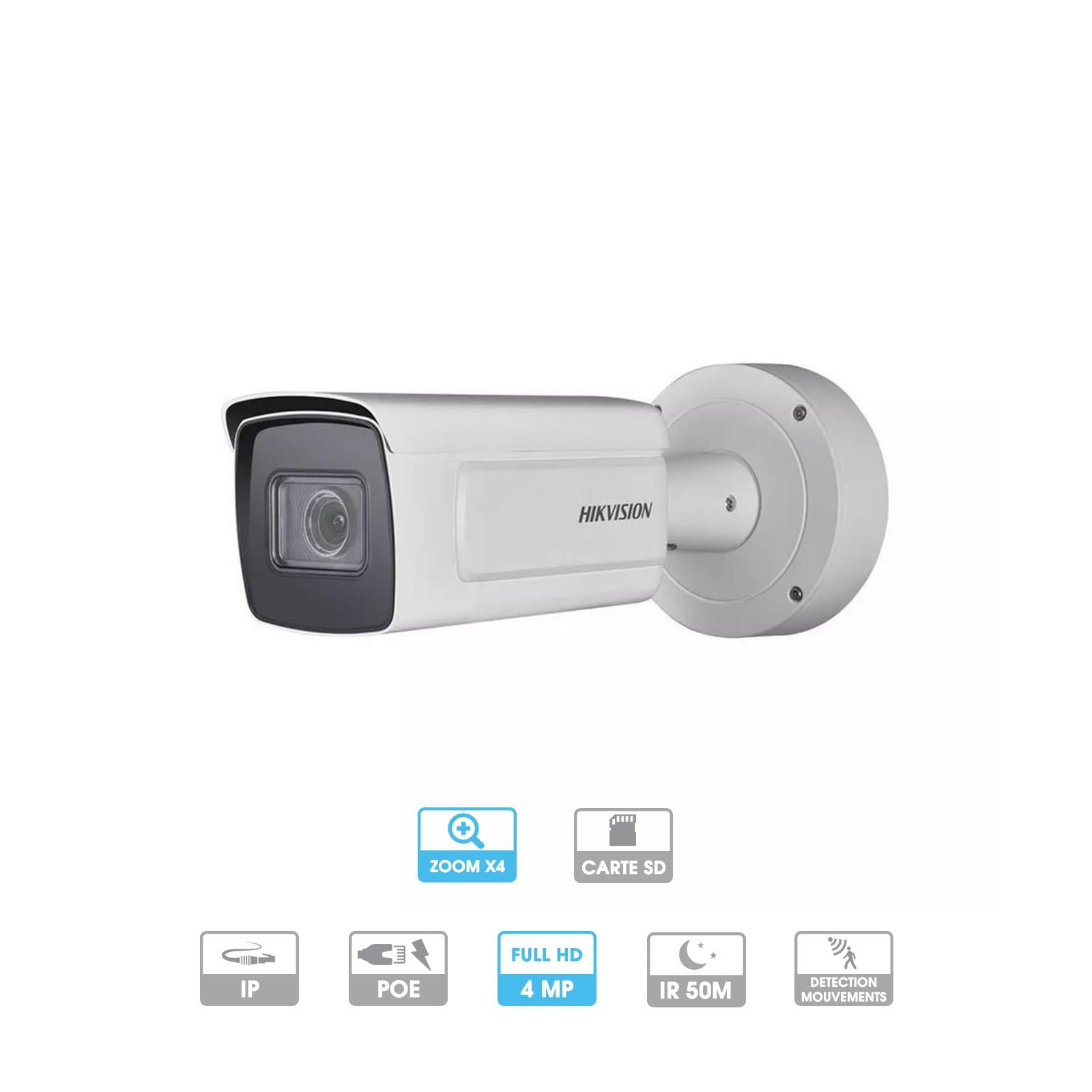 Caméra Hikvision   Tube   4 MP   IP PoE   Zoom x 4   Reconnaissance faciale