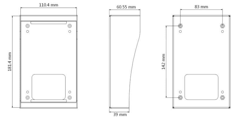 dimensions_boîtier_acier_interphone_hikvision